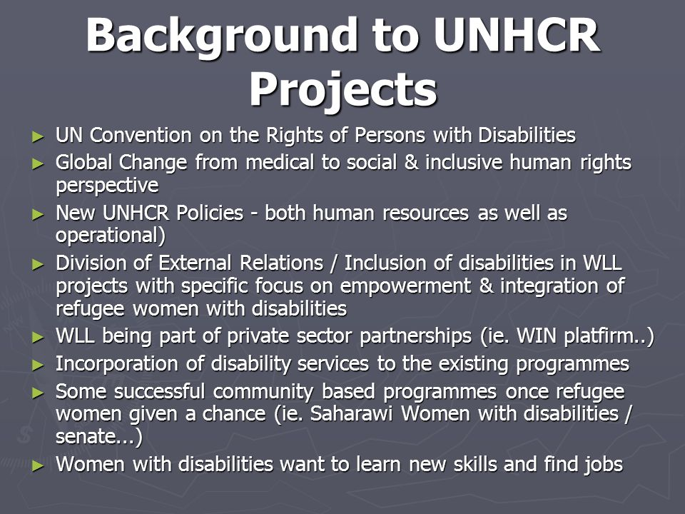 Background to UNHCR Projects