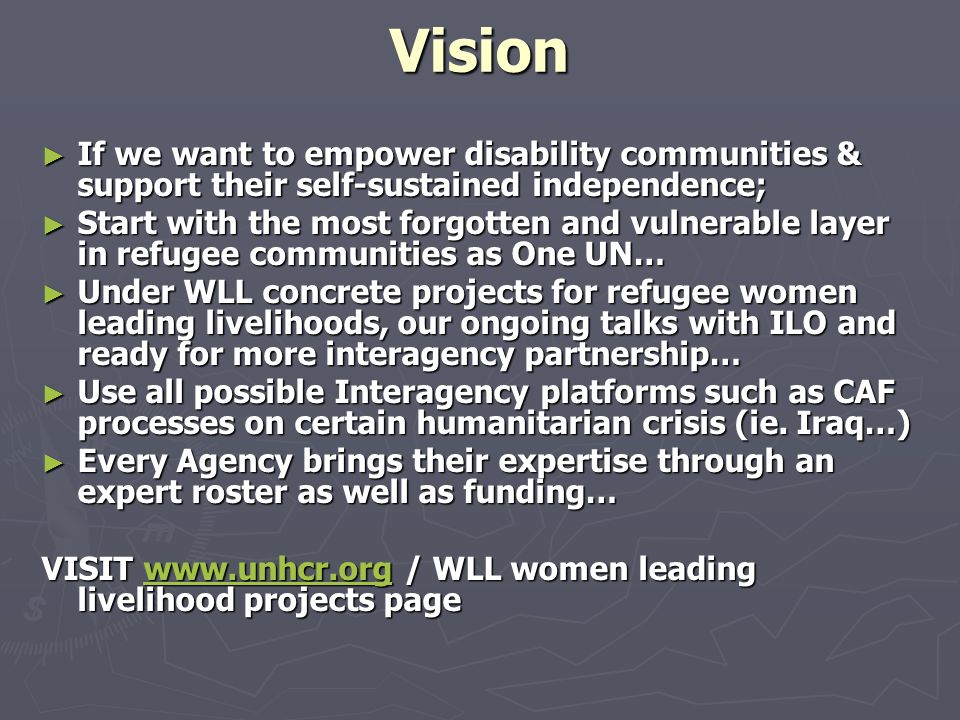 Vision If we want to empower disability communities & support their self-sustained independence;