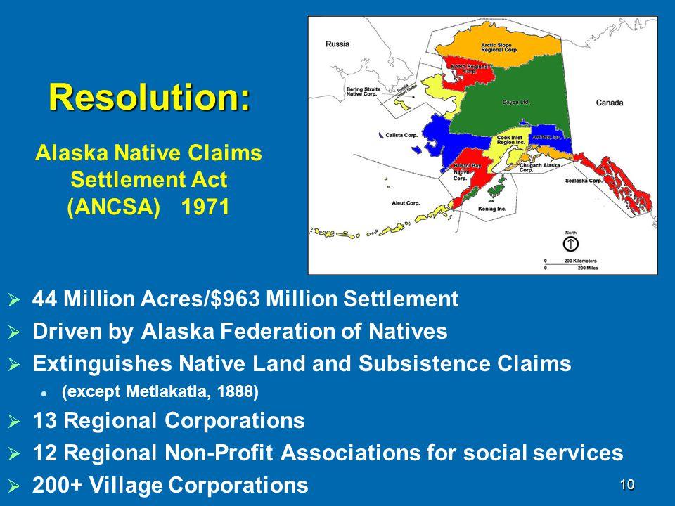 Resolution: Alaska Native Claims Settlement Act (ANCSA) 1971