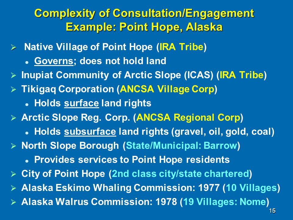 Complexity of Consultation/Engagement Example: Point Hope, Alaska