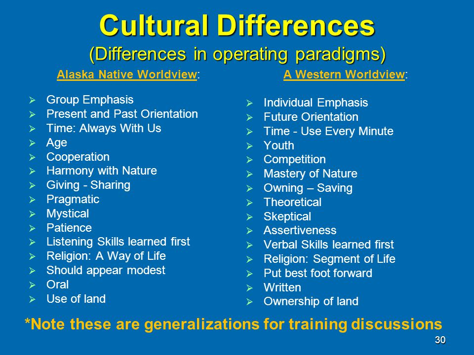 Cultural Differences (Differences in operating paradigms)