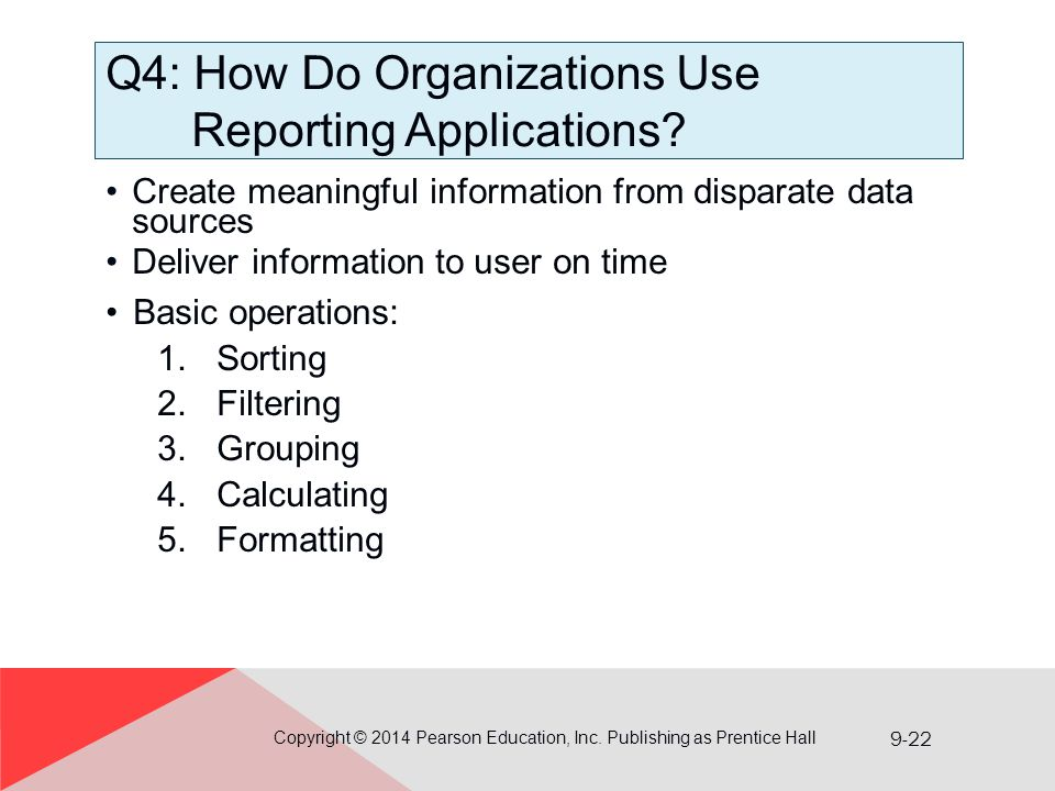 Q4: How Do Organizations Use Reporting Applications