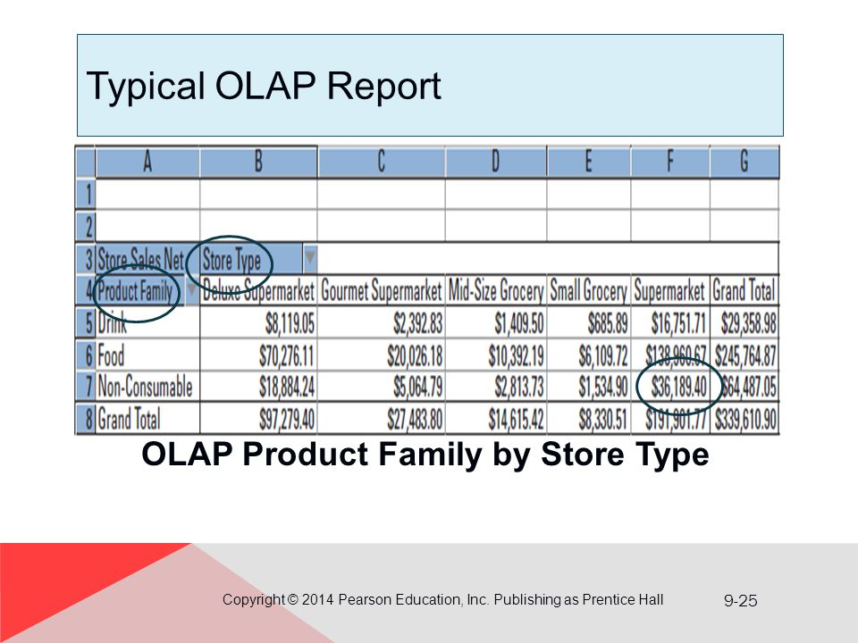 OLAP Product Family by Store Type