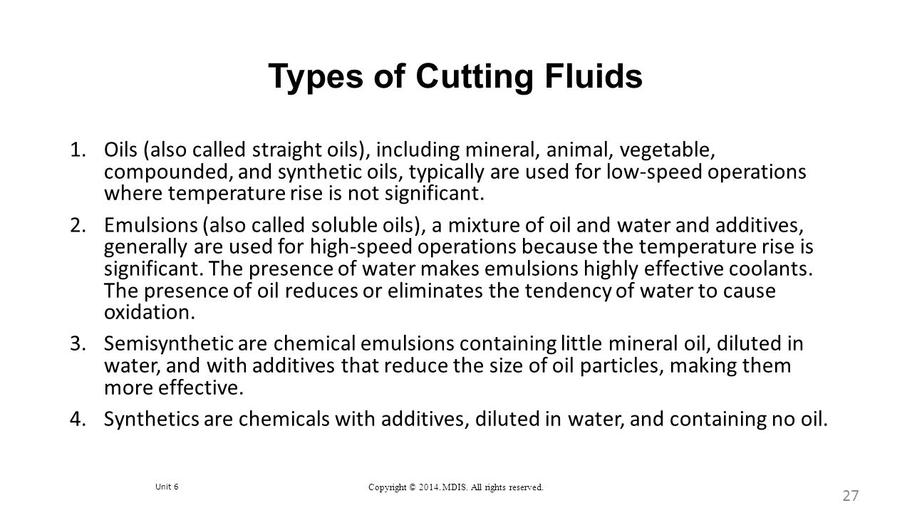 Types of Cutting Fluids