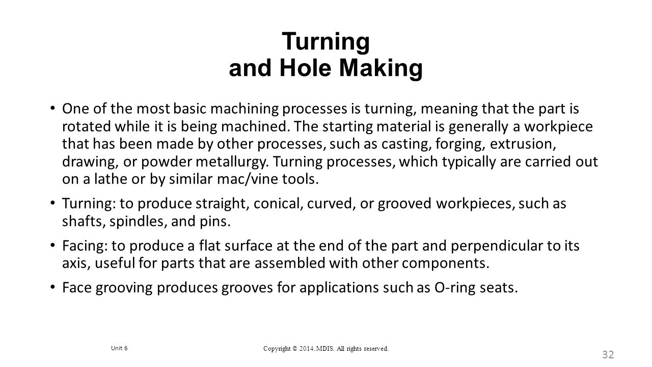 Turning and Hole Making