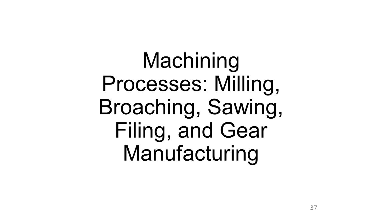 Machining Processes: Milling, Broaching, Sawing, Filing, and Gear Manufacturing