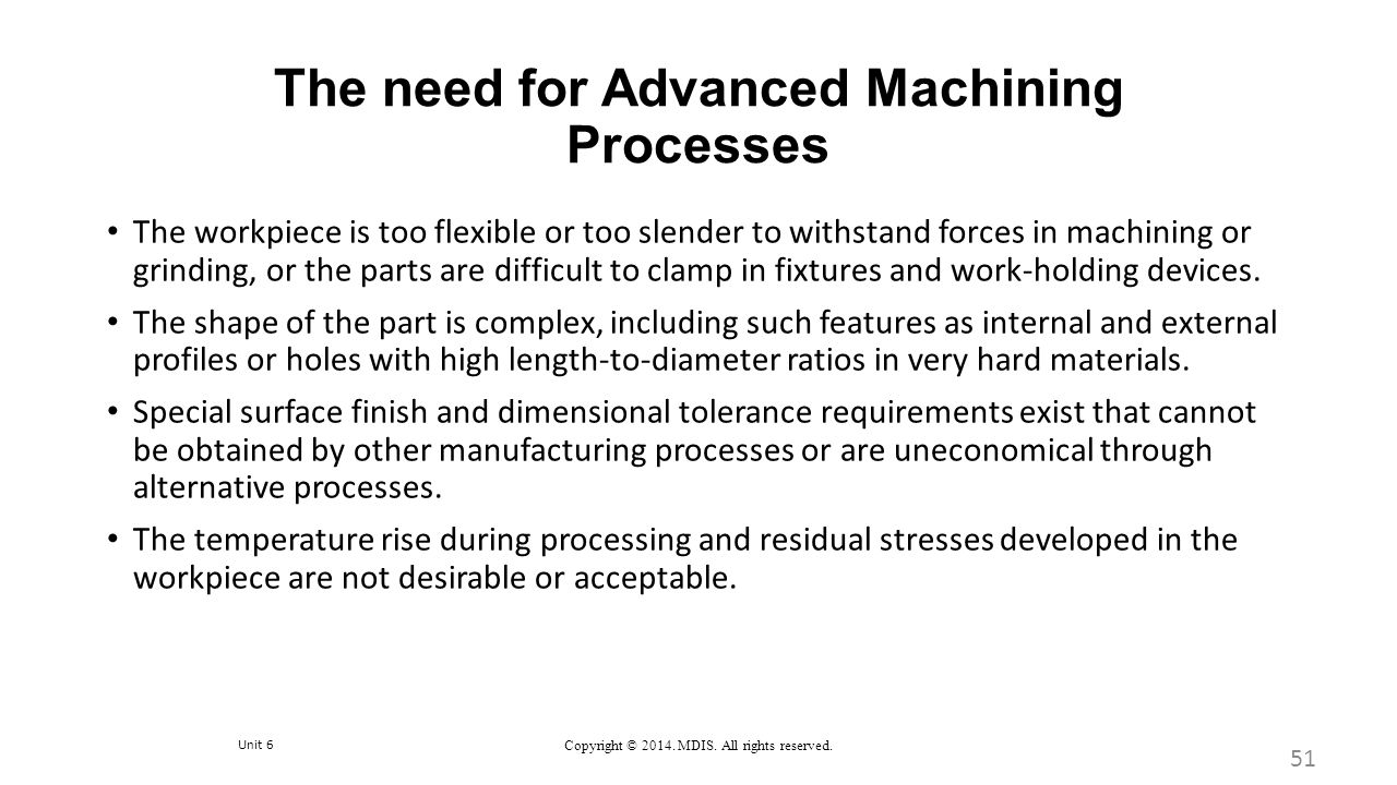 The need for Advanced Machining Processes