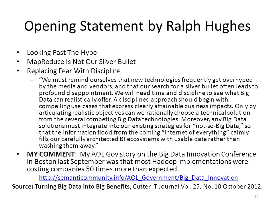 Opening Statement by Ralph Hughes