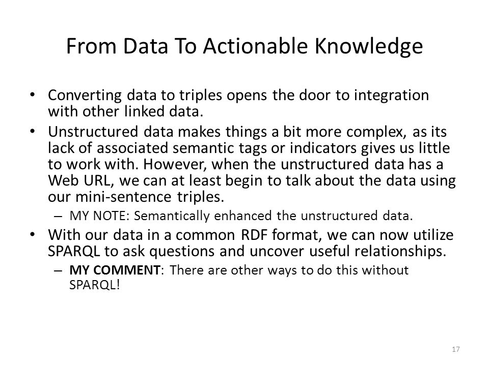 From Data To Actionable Knowledge