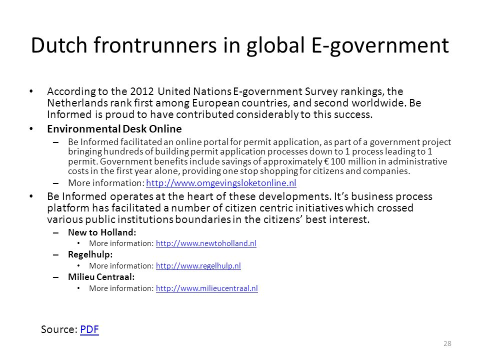 Dutch frontrunners in global E-government