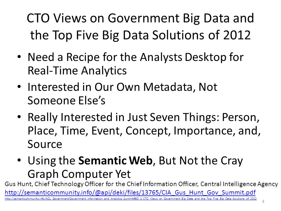 CTO Views on Government Big Data and the Top Five Big Data Solutions of 2012