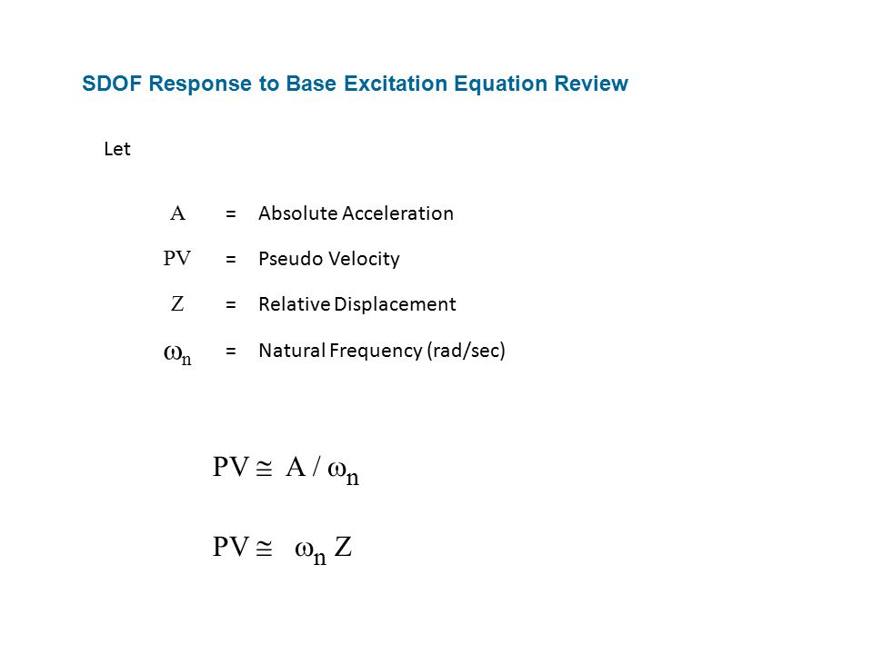 SDOF Response to Base Excitation Equation Review