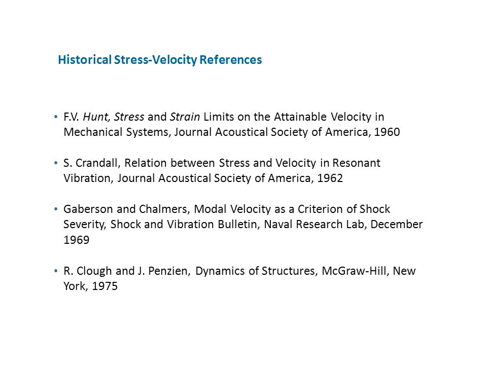 Historical Stress-Velocity References
