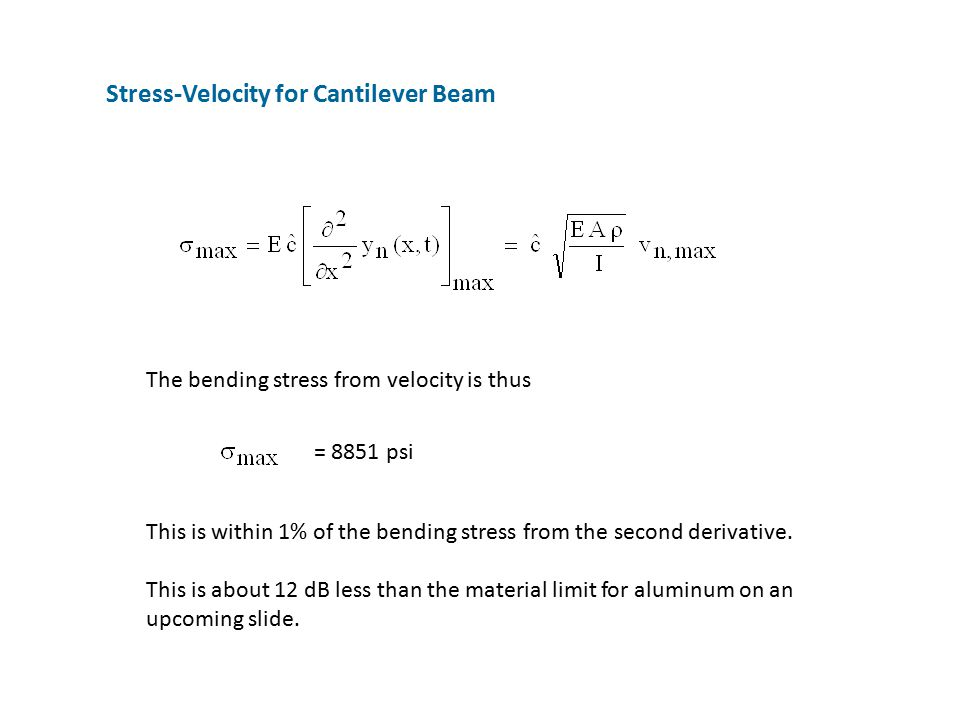 Stress-Velocity for Cantilever Beam