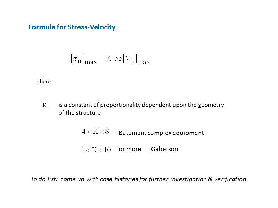 Formula for Stress-Velocity
