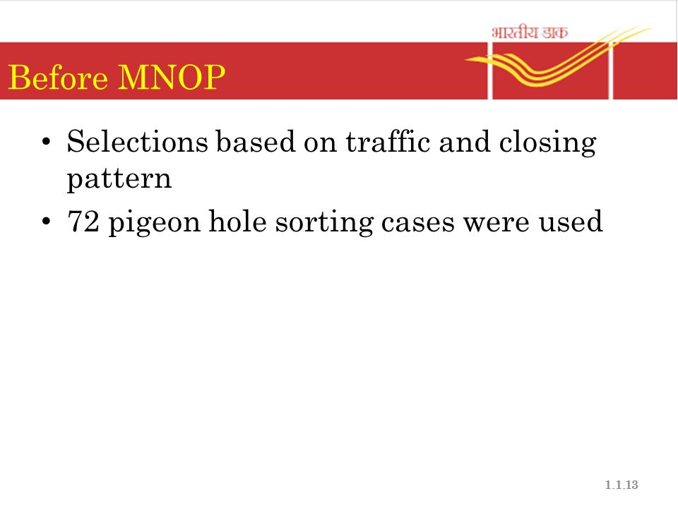 Before MNOP Selections based on traffic and closing pattern