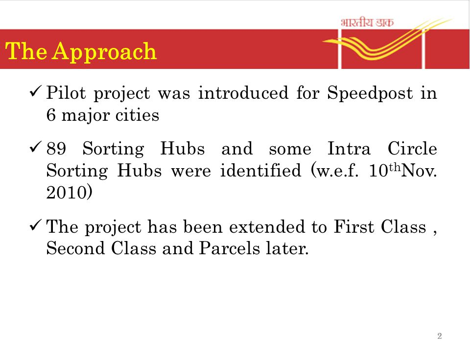 The Approach Pilot project was introduced for Speedpost in 6 major cities.