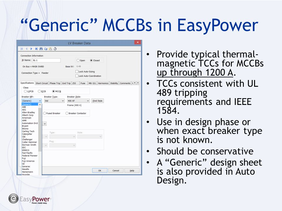 Generic MCCBs in EasyPower