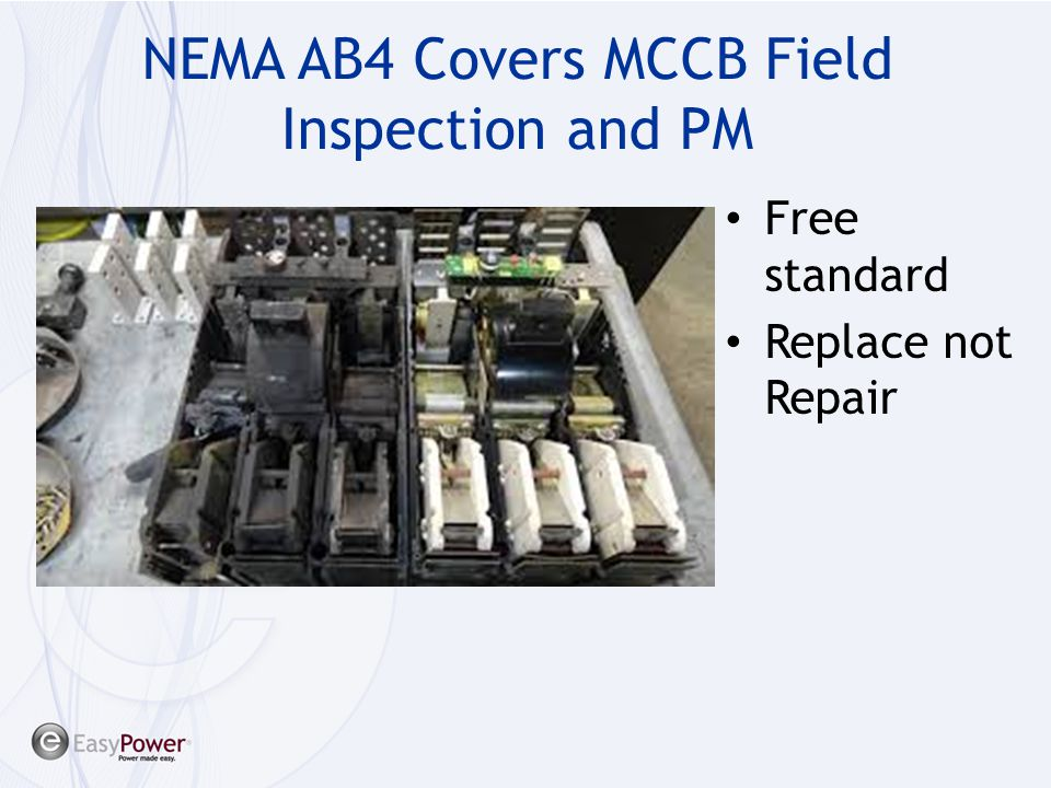 NEMA AB4 Covers MCCB Field Inspection and PM
