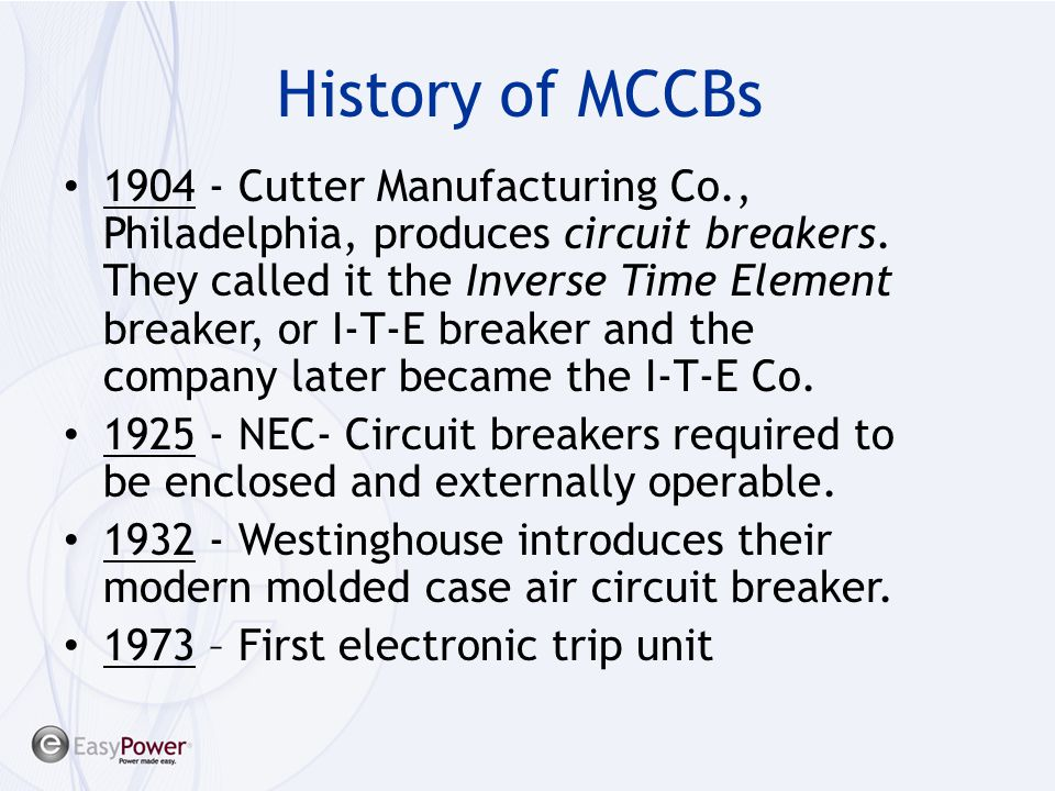 History of MCCBs