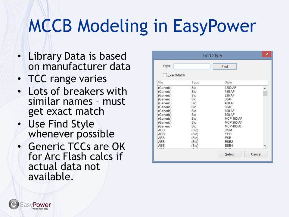MCCB Modeling in EasyPower