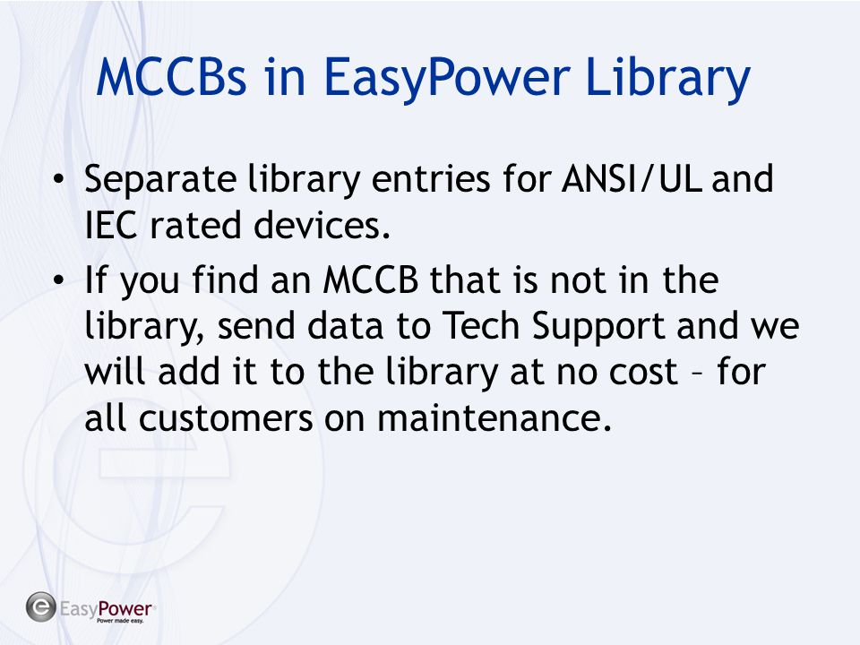 MCCBs in EasyPower Library