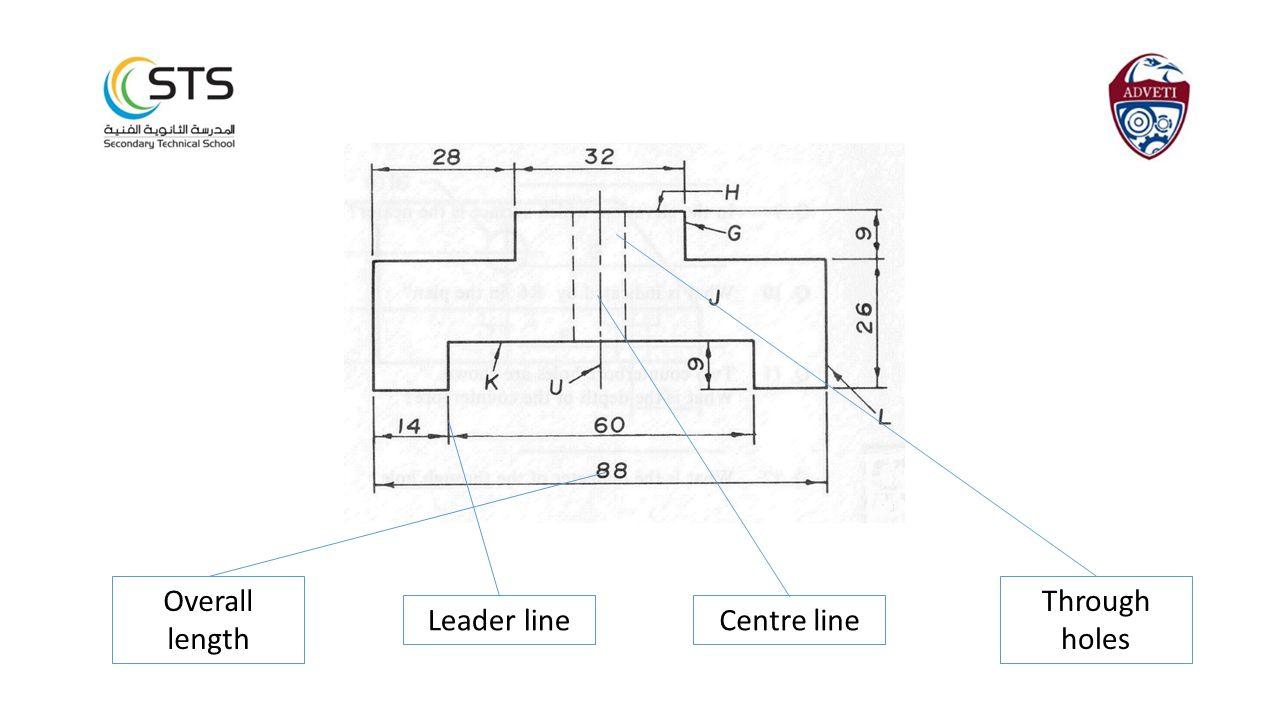 Overall length Through holes Leader line Centre line