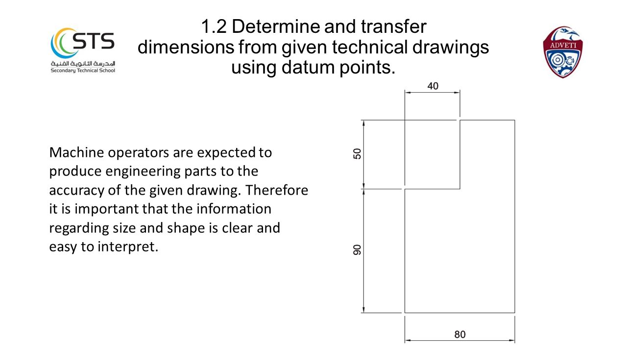1.2 Determine and transfer dimensions from given technical drawings using datum points.