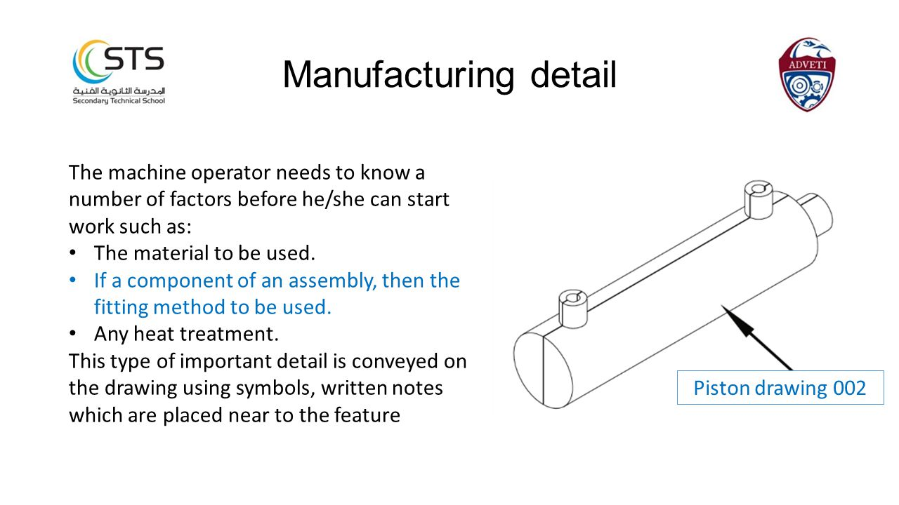 Manufacturing detail The machine operator needs to know a number of factors before he/she can start work such as: