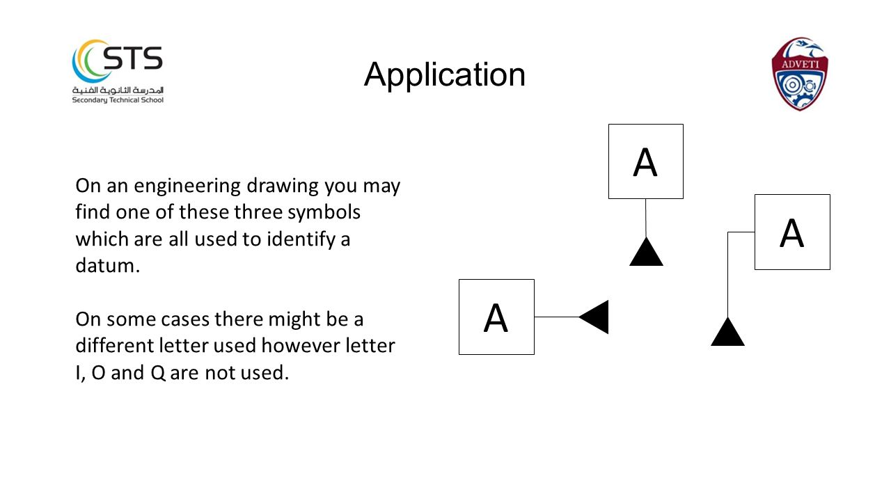 Application A. On an engineering drawing you may find one of these three symbols which are all used to identify a datum.