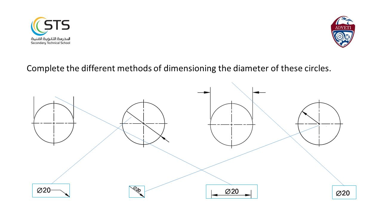Complete the different methods of dimensioning the diameter of these circles.