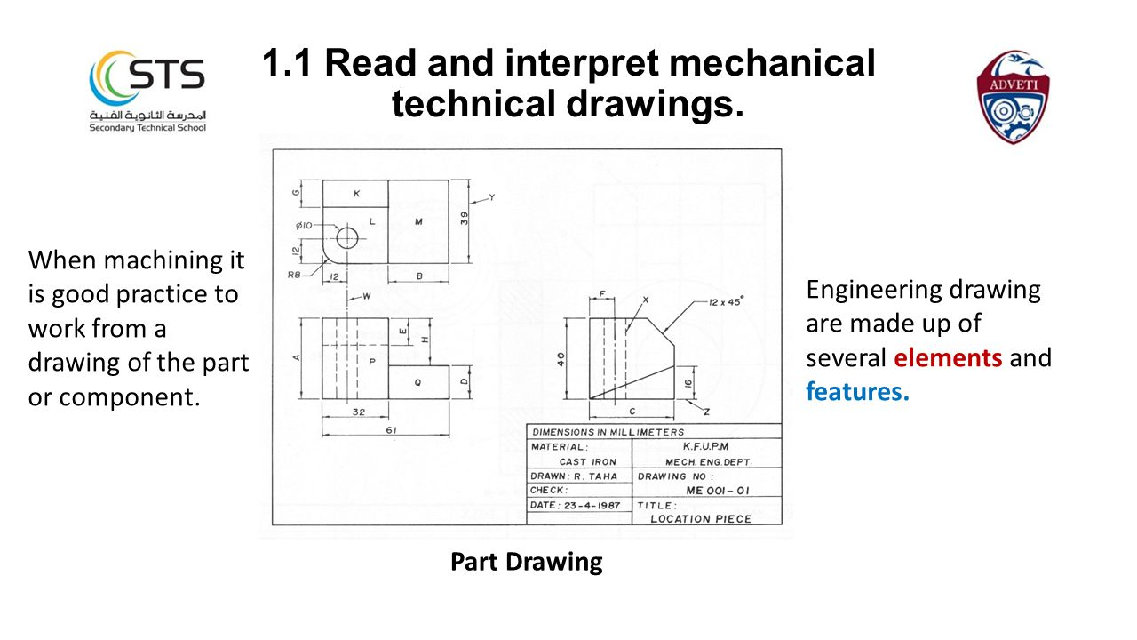 1.1 Read and interpret mechanical technical drawings.