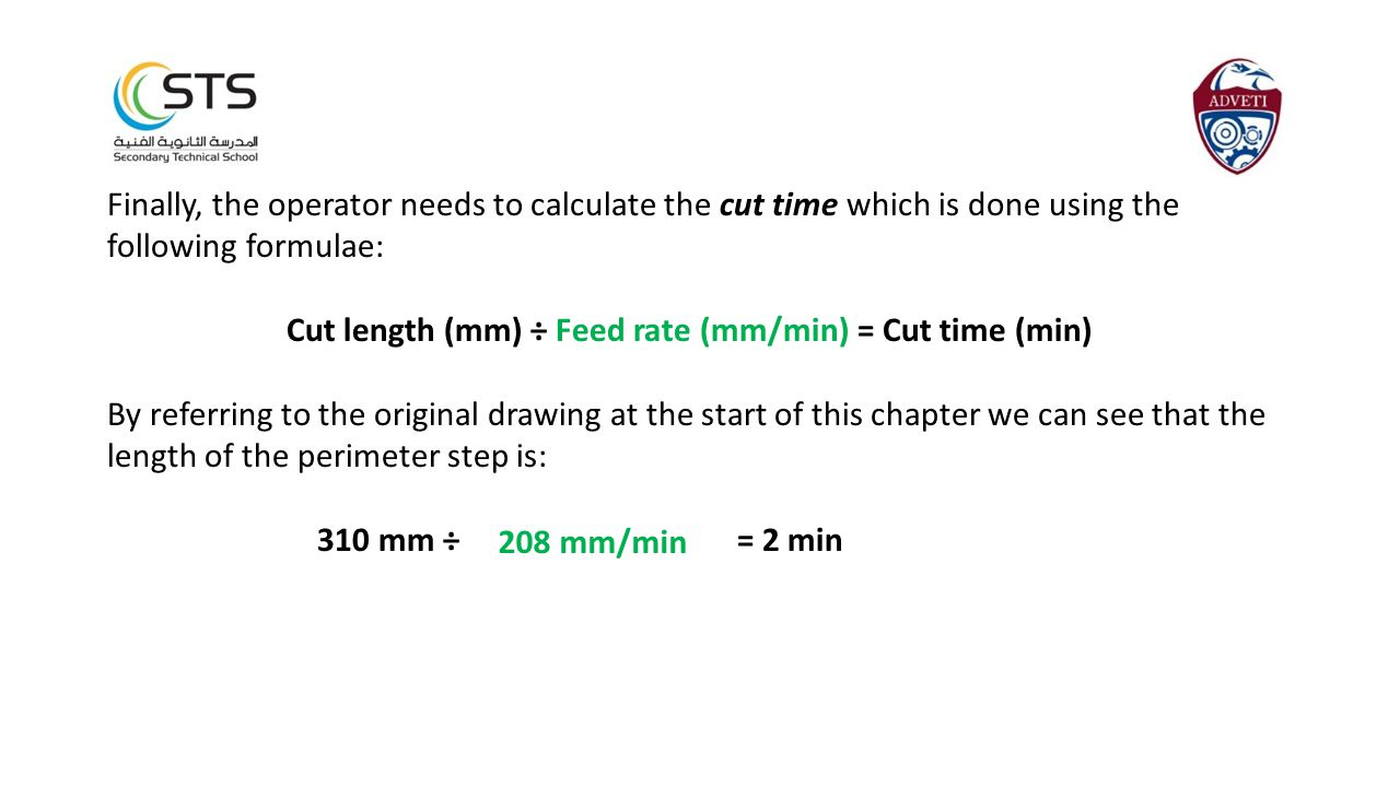 Cut length (mm) ÷ Feed rate (mm/min) = Cut time (min)