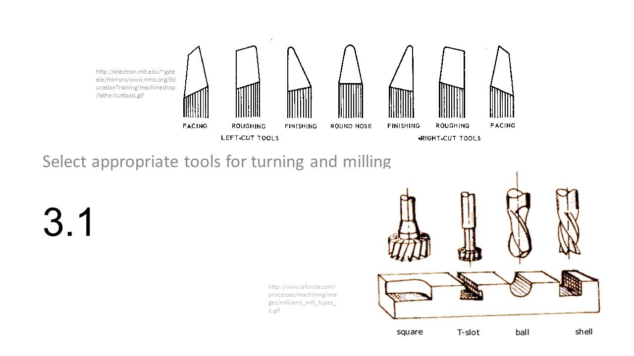 3.1 Select appropriate tools for turning and milling