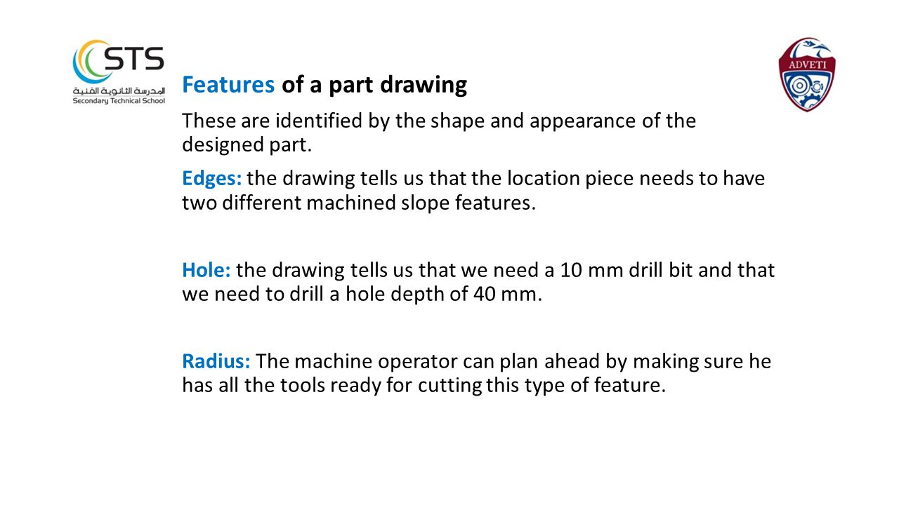 Features of a part drawing