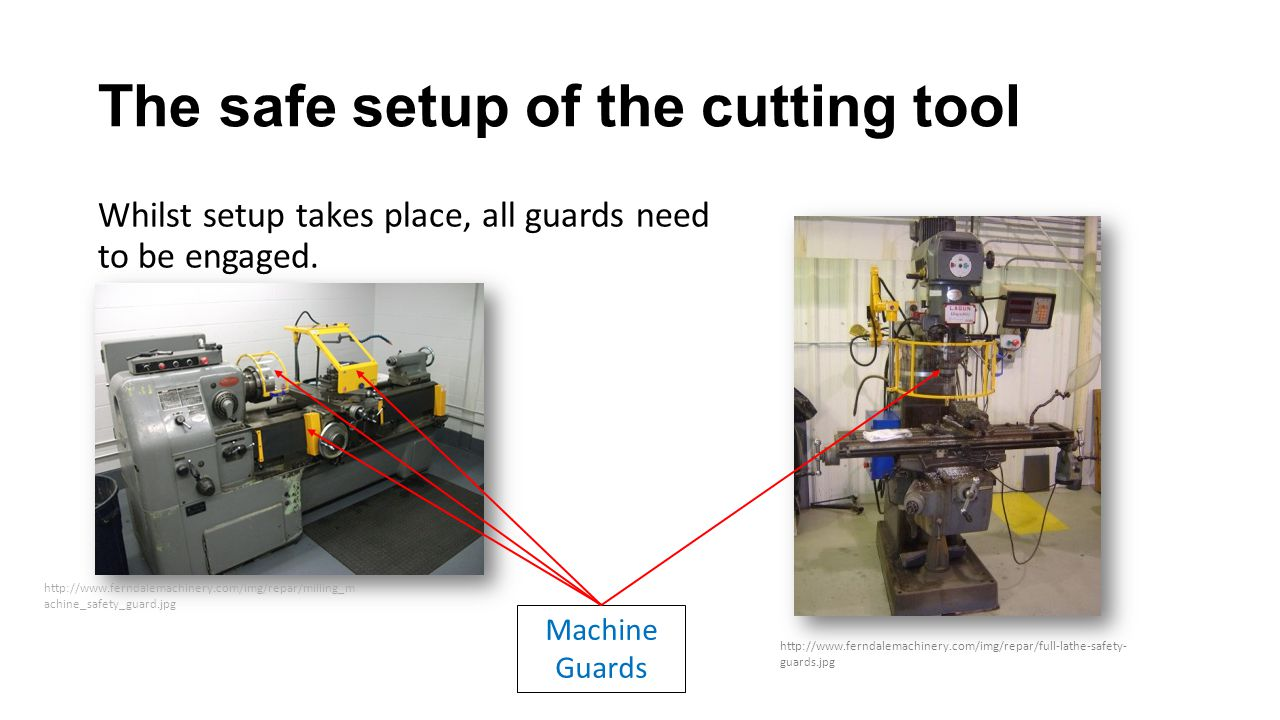The safe setup of the cutting tool