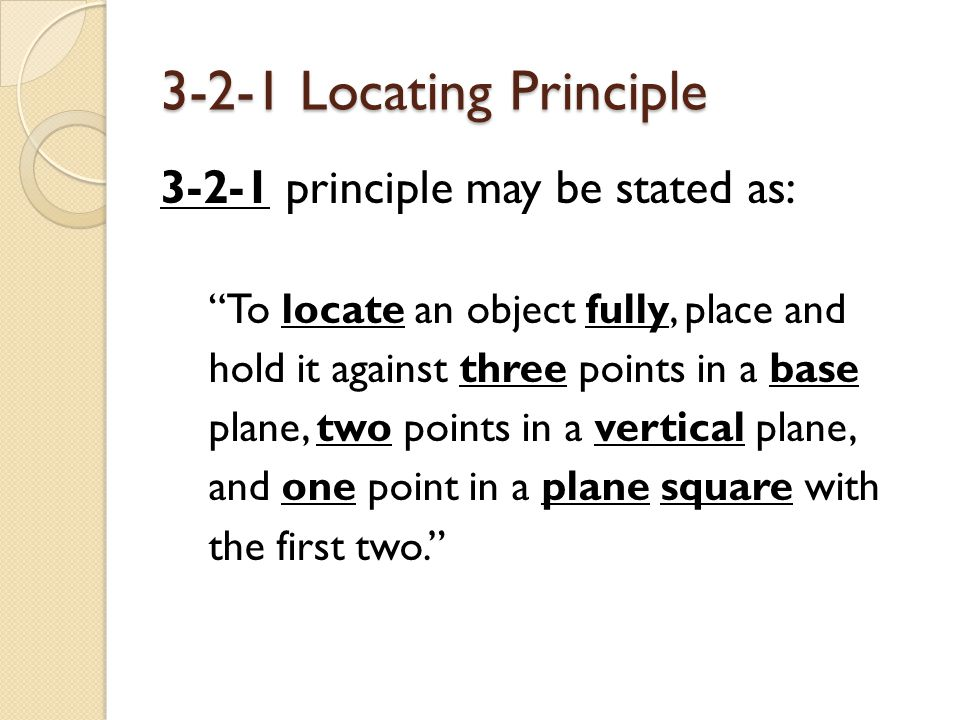 3-2-1 Locating Principle 3-2-1 principle may be stated as: