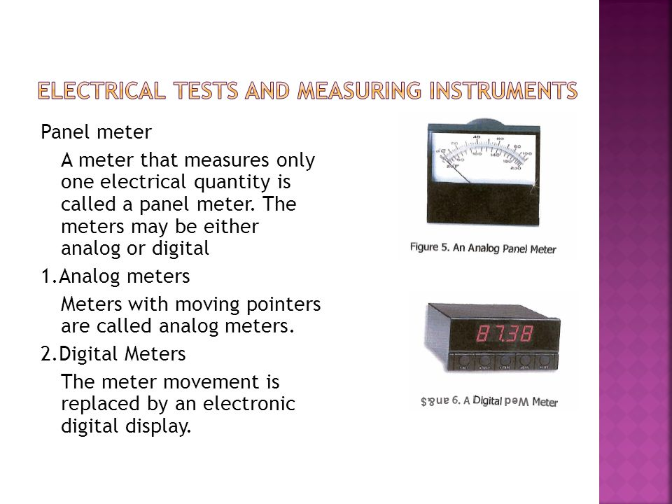ELECTRICAL TESTS AND MEASURING INSTRUMENTS