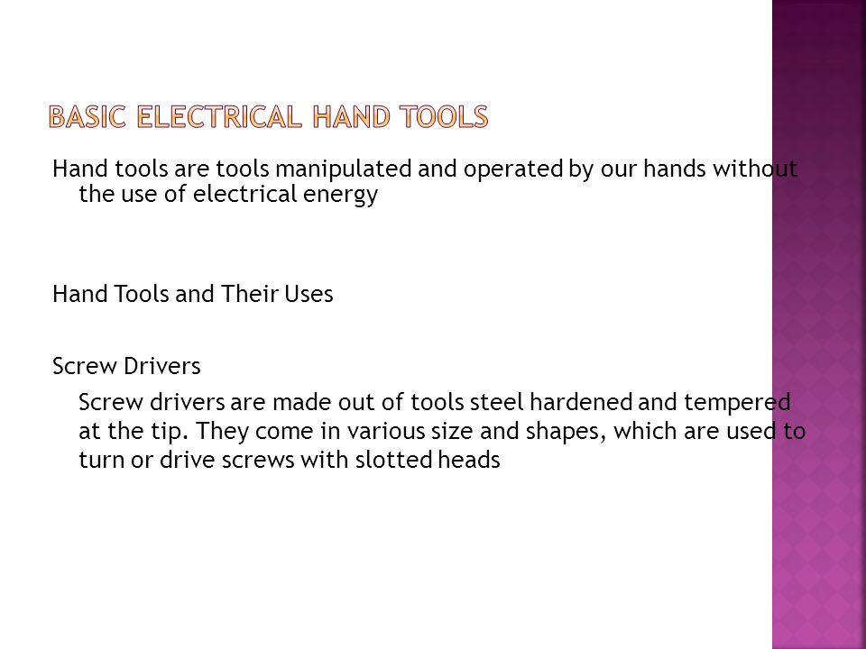 Basic Electrical hand Tools