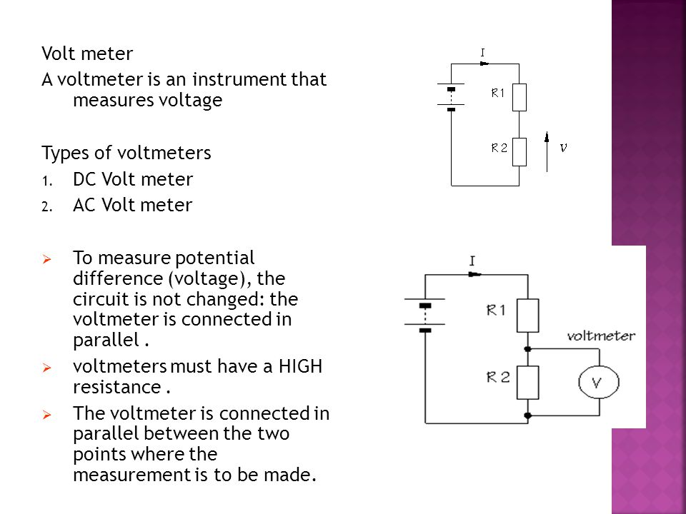 Voltmeter In Parallel : Basic electrical tools and tackles ppt video online download