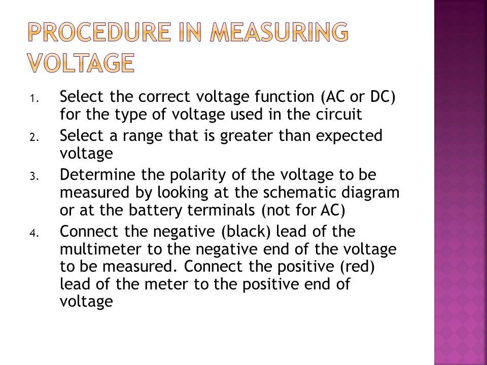 Procedure in measuring voltage