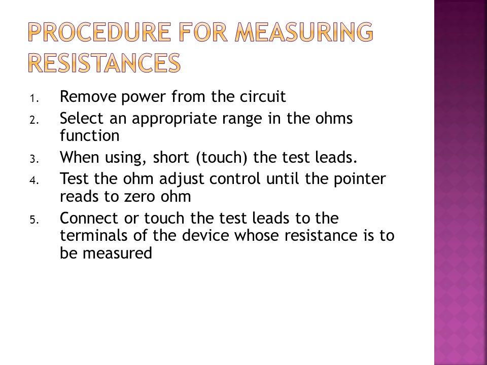 Procedure for measuring resistances