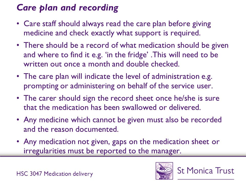 Care plan and recording