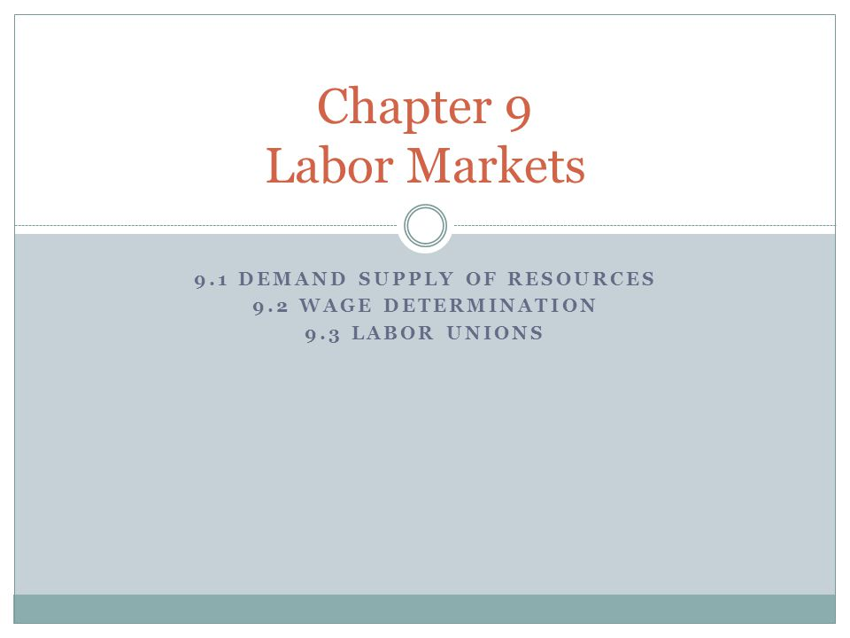 9.1 Demand supply of resources 9.2 wage determination 9.3 labor unions