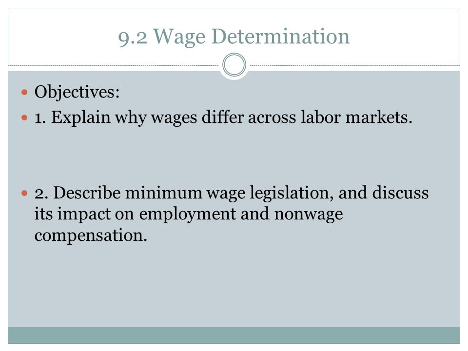 9.2 Wage Determination Objectives: