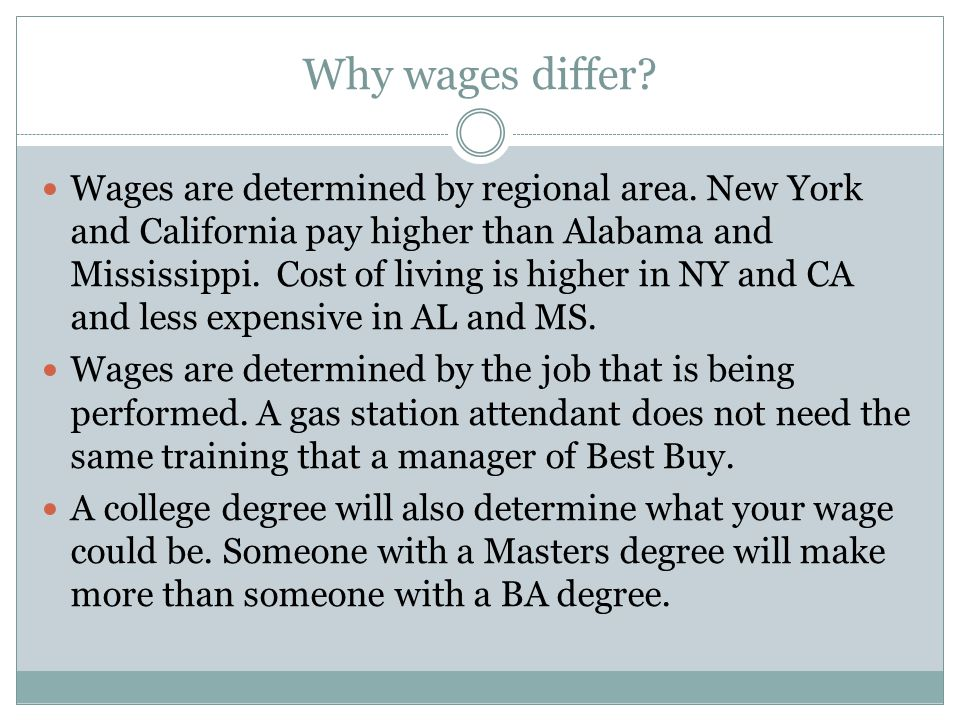 Why wages differ
