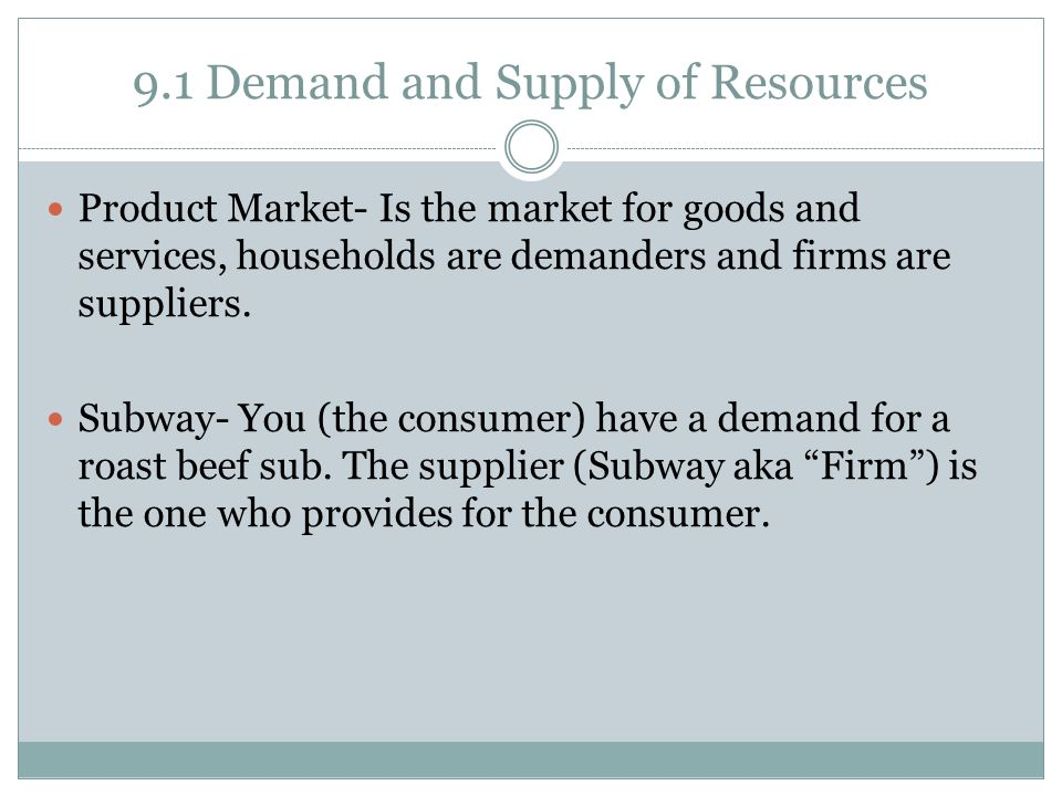 9.1 Demand and Supply of Resources