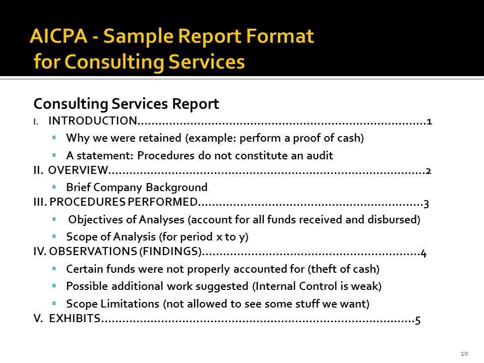 AICPA - Sample Report Format for Consulting Services