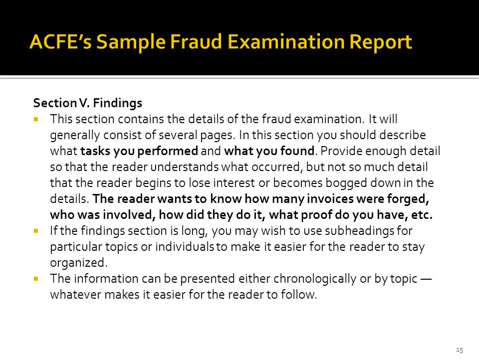 ACFE's Sample Fraud Examination Report