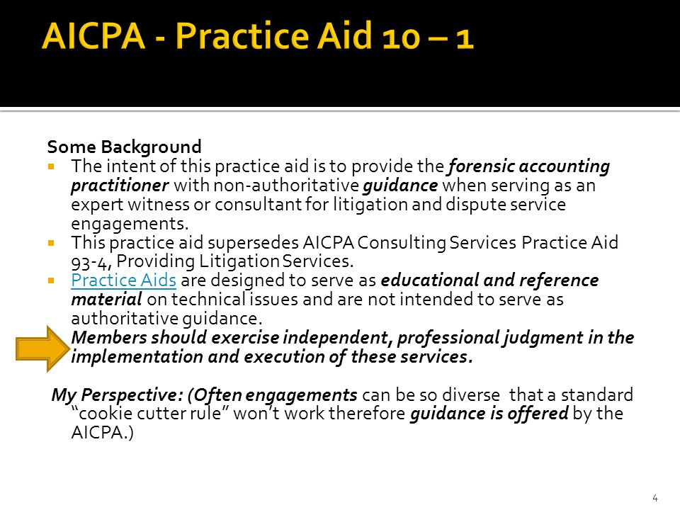 AICPA - Practice Aid 10 – 1 Some Background